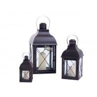 lantaarn set van 3 stuks Empoli metaal antiek bruin