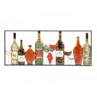 muurdecoratie flessen met drank en glazen