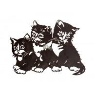 muurdecoratie metaal 3 zwarte katten