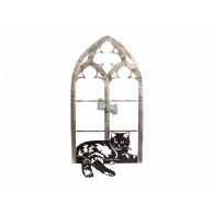muurdecoratie zwarte kat in venster metaal