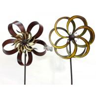 tuinsteker windmolen bloem metaal 2 assortiment design 40x40x180