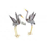 kraanvogel Gustav grijs metaal hoog 86 en 99 cm 2 assortiment disign