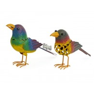 vogel  om neer te zetten metaal breed 20 cm 2 assortiment design