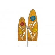 steker bloem in frame glas en metaal hoog 118 cm