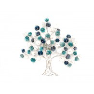 muurdecoratie boom blauw hoog 109 cm