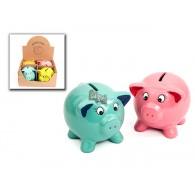 spaarpot varken 4 assortiment kleur keramiek in display op=op