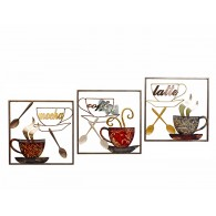 muurdecoratie Coffee time hoog 37 breed 37 cm 3 assortiment design