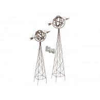 windwijzer met pijl op statief hoog 105 en 135 cm set van 2 stuks