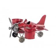 vliegtuig als bloembak rood breed 33 cm