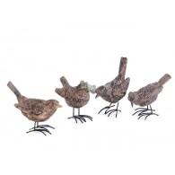 vogel van polystone rustieke uitvoering 4 assortiment design hoog 6 cm