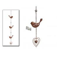 hanger met 3 vogels en hart donker bruin lang 75 cm
