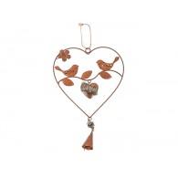 hanger 2 vogels in hart op tak (diameter 19cm) donker bruin lang 37 cm