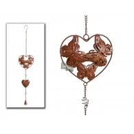 hanger vlinders in hart (diameter 14 cm) donker bruin lang 66 cm