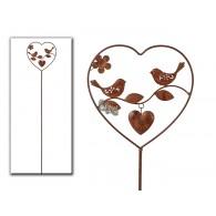 steker hart met vogels bruin metaal