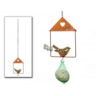 mezenbol houder metaal met vogel van keramiek