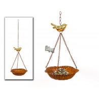 vogel drinkbak hanger met 1 vogel metaal en keramiek
