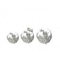 windlicht glas met vlinder diameter 11 cm grijs