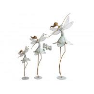 ballerina metaal wit grijs hoog 40 cm
