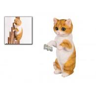hekdier kat rood wit polystone hoog 22 cm