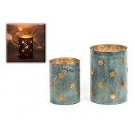 windlicht metaal groen goud set van 2 stuks hoog 14 en 18 cm