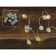 licht ketting kogel zilver met 10 lichtjes