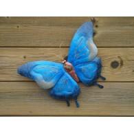 muurdecoratie vlinder blauw 49 cm