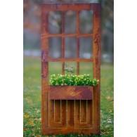 deur van metaal met plantenbak hoog 180 cm