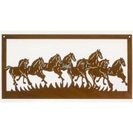 muurdecoratie 8 paarden hoog 41 lang 80 cm roest