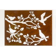 muurdecoratie vogel op tak roest