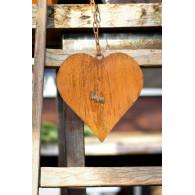 hanger hart (20x20) aan ketting roest