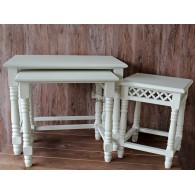 tafel hout set van 3 stuks  wit