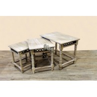tafel hout set van 3 stuks  natuur gewit