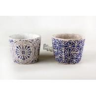 bloempot cement ornament hoog 12.8 cm blauw  2 assortiment design