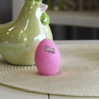 set van 6 stuks eieren kaars roze hoog 6 cm