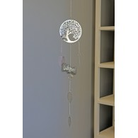 hanger levensboom metaal 80 cm lang zilver op=op