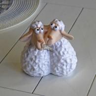 schapenpaar keramiek wit hoog 11 cm