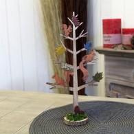 decoratie boom hout met eekhoorn hoog 30 cm