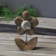 bloem hout met alu decoratie hoog 16 cm