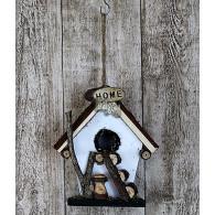 vogelhuis hangend hout met ladder wit hoog 19 cm
