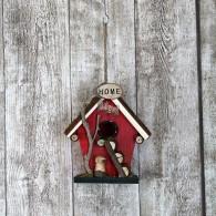 vogelhuis hangend hout met ladder rood hoog 19 cm