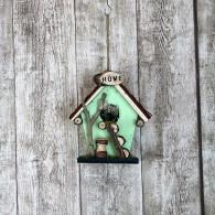 vogelhuis hangend hout met ladder mint hoog 19 cm