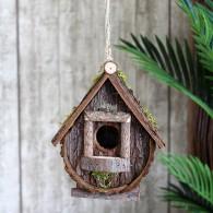 vogelhuis hangend hout bruin hoog 18 cm