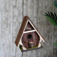 vogelhuis hangend hout met boomstam bruin hoog 18 cm