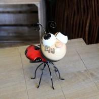 lieveheersbeestje staande 19 cm metaal rood