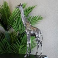 giraffe polystone antiekzilver hoog 41.5 cm