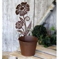 bloempot metaal met bloem hoog 36.5 cm roestkleur