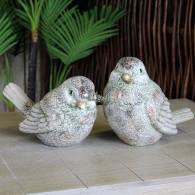 vogel 22.5 cm keramiek 2 assortiment design groen