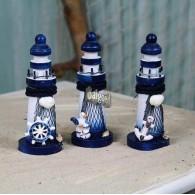 vuurtoren hout 3 assortiment design hoog 13 cm blauw wit