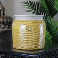 bloempot keramiek ribbel hoog 20 cm geel