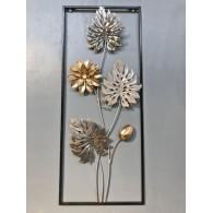 muurdecoratie bloemen tak hoog 61 cm wit goud